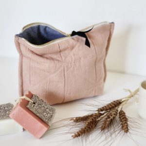 trousse de toilette coton rose